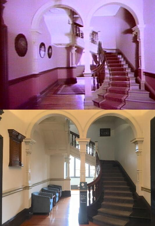 The entrance hall of the Old Mint Building, Macquarie Street, Sydney after restoration 1982 > 2016. [1982 - State Library of NSW>2016 - Phil Harvey. By Phil Harvey]