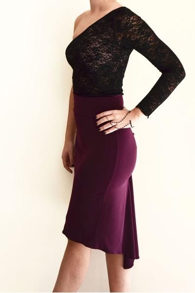 Eggplant Fishtail Tango Skirt by conDiva. Paired with a lace top.  Great tango outfit. #tangooutfit
