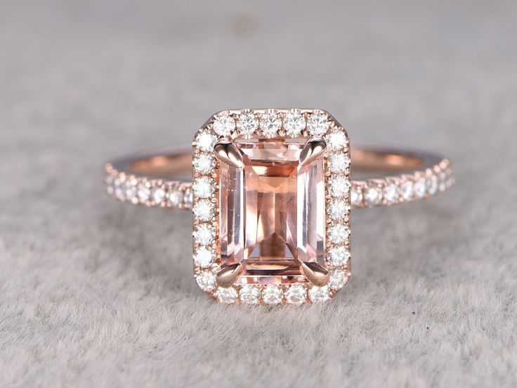 Rose Gold Morganite Halo Engagement Ring in BBBGEM,see our morganite bridal rings in 14/18k gold with round,oval,cushion,princess,emerald cut,pear shapes.