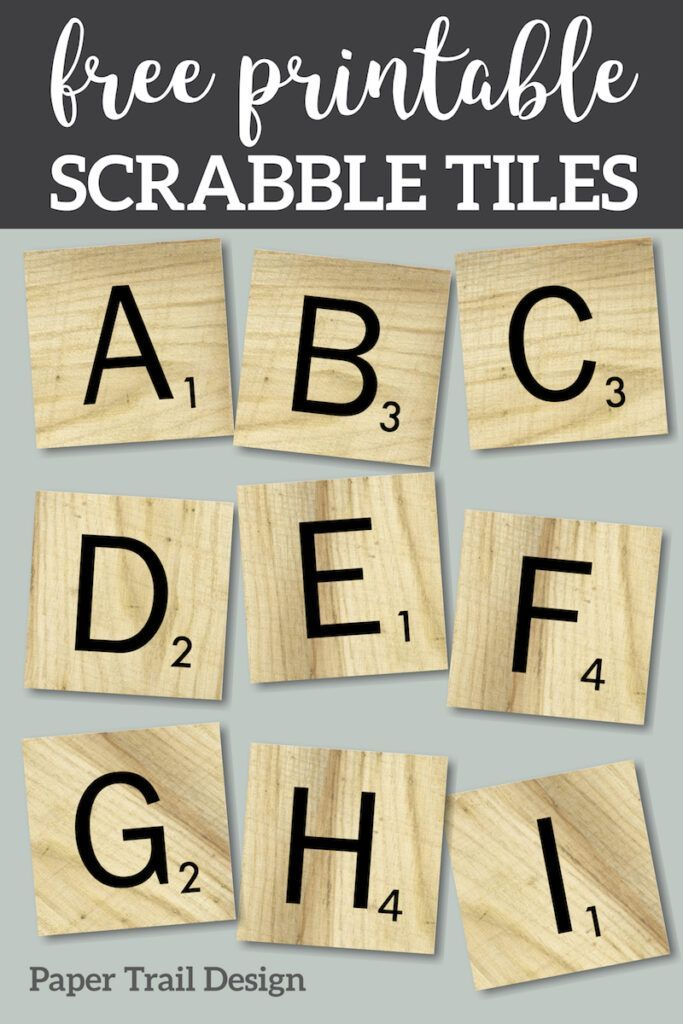 Free Printable Scrabble Letter Tiles Sign Paper Trail Design Printable Scrabble Tiles Scrabble Letters Scrapbook Letters