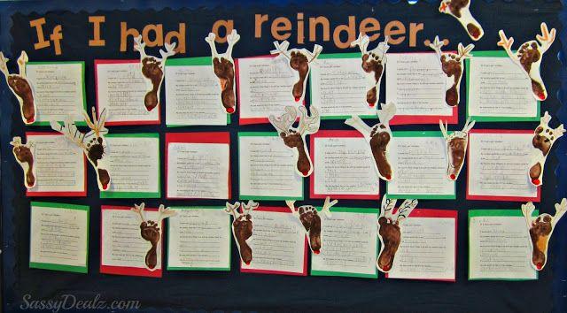 Footprint Reindeer Bulletin Board Idea For Christmas - Crafty Morning