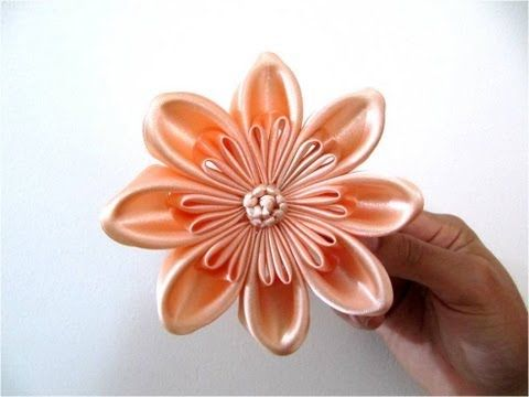 Moños hermosos para el cabello en cintas flores pétalos triple dobles - YouTube