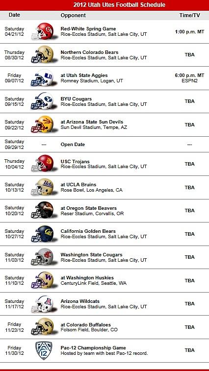Utah Utes 2012 Football Schedule