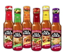 All Gold hot sauces are homogenous blends with visible particles linked to distinct flavour profiles. The range consists of six variants with diverse flavours that are easily identifiable with the product names and have various degrees of hotness.