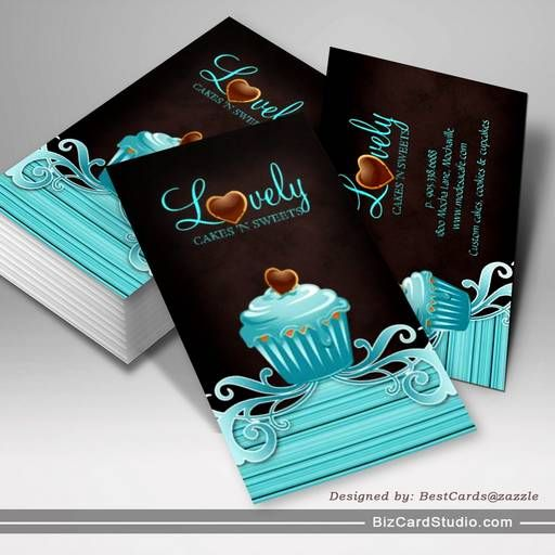 514 best images on pinterest business card design bakery cupcake blue swirls chocolate brown business card wajeb Image collections