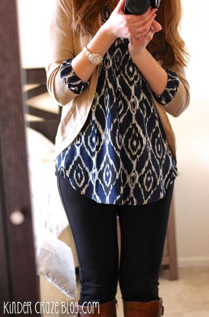 I like the patterned blouse under the cardi