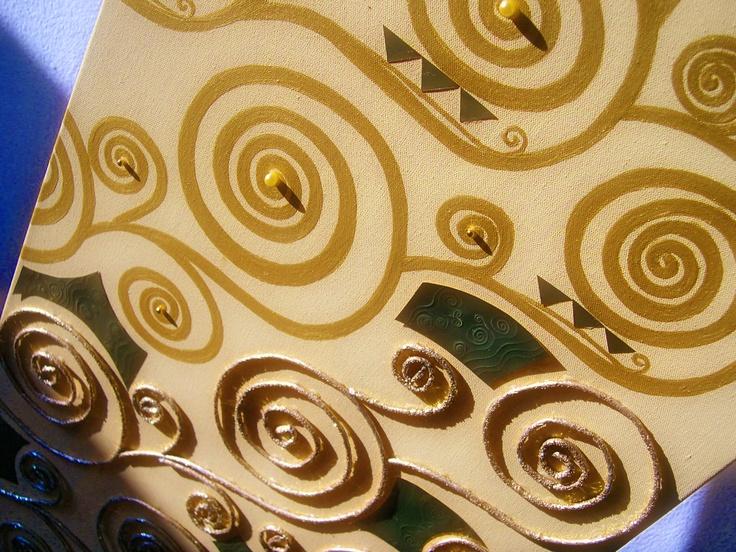 Klimt swirls - olio e materiali decorativi su tela
