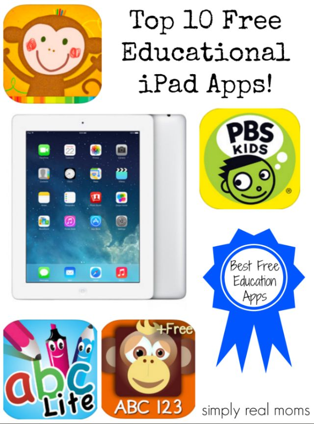 Top 10 Free Educational iPad Apps-teacher and mom approved!  #freeapps #education