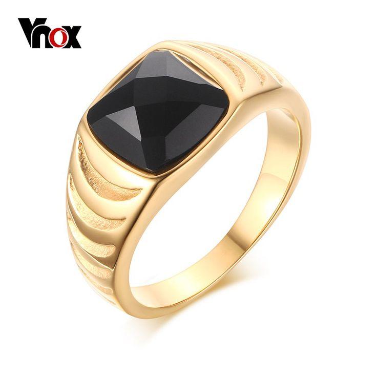Vnox męskie zabytkowe pierścienie ze stali nierdzewnej pozłacane czarny agat pierścionki biżuteria dla mężczyzn