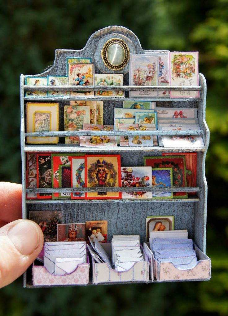 how to: miniature shelving unit - designed to hold stationary but would also suit dollhouse spice shelf or display for collection of small objects