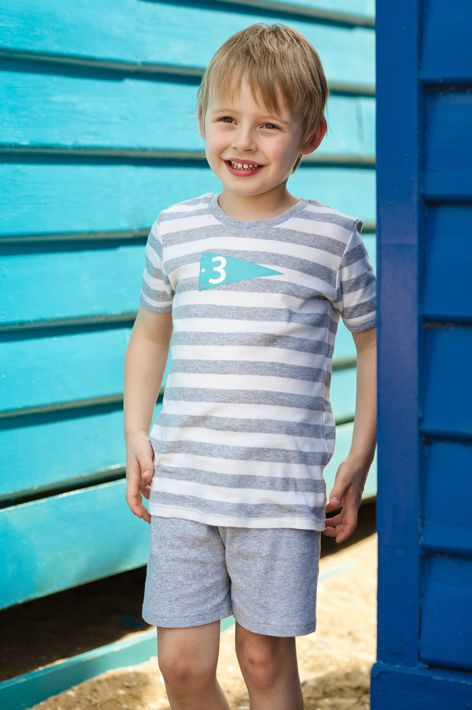 Boys grey and whote striped flag PJ