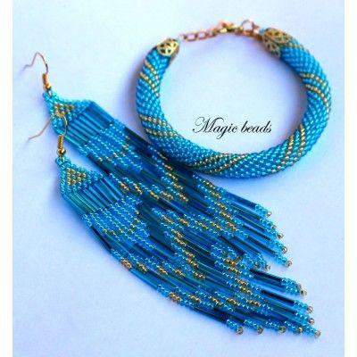 Набор украшений для девушек: длинные серьги и браслет из бисера ручной работы ярко-голубого цвета