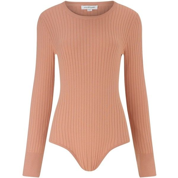 Jill Stuart Nude Ribbed Defne Leotard (725 CAD) ❤ liked on Polyvore featuring tops, bodysuits, body suit, multi, knit tops, jill stuart tops, long sleeve bodysuit and ribbed top