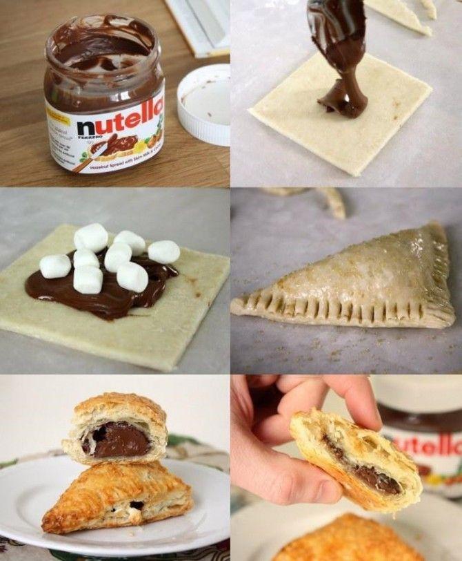 Sencillos pastelitos de Nutella hechos con massa de hojaldre