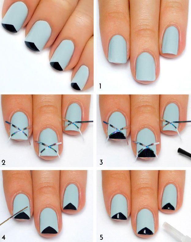 урок маникюра, голубые ногти, треугольники на ногтях, nail art, nails design
