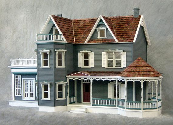 FREE SHIP, Special VALUE, Rose Garden Mansion, Harbourside Deluxe Victorian Wooden Dollhouse Kit, Scale One Inch