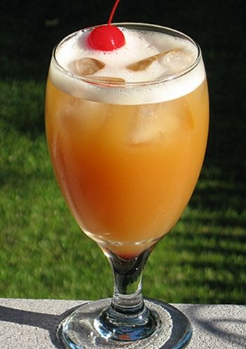 Watermelon Crawl ~ 2 oz. Watermelon Pucker (Schnapps), 1.5 oz. Southern Comfort, 1.5 oz. Amaretto, 1.5 oz. Orange Juice, 1.5 oz. Pineapple Juice, Cherry for garnish...