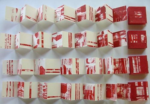 « Alliance rouge » Marie Renaudin , livre d'artiste xylographie
