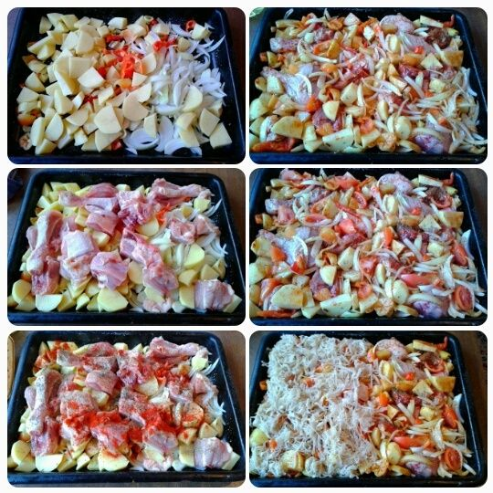 Zapečené zemiaky s kuracím mäsom a kyslou kapustou (fotorecept) - obrázok 2
