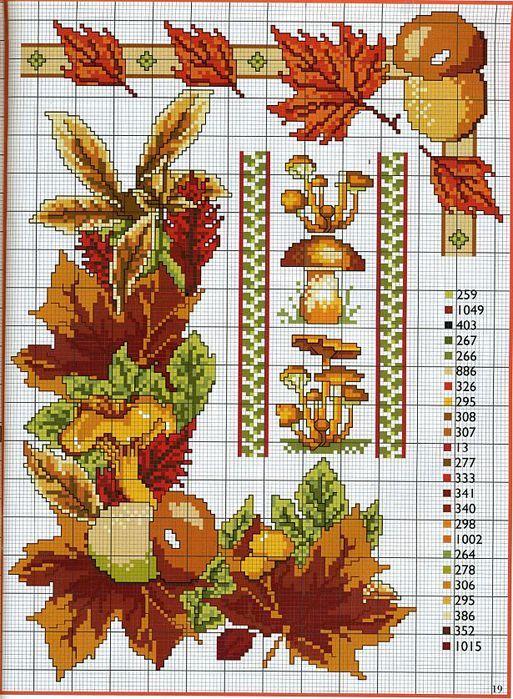 Herbstmotiv (auch Farbschlüssel zu ABC mit Pilzen und Waldmotiven)