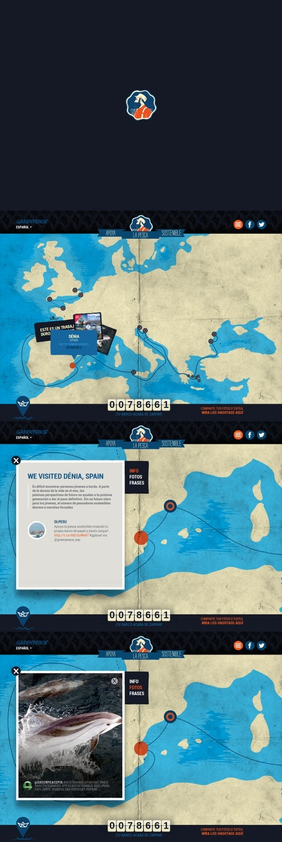 Myboat - Greenpeace 25 May 2013 http://www.awwwards.com/web-design-awards/myboat-greenpeace #webdesign #inspiration #UI #Illustration #CSS3 #Animation #HTML5 #Design #Yellow #Blue #Orange