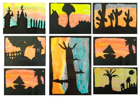 Sunset Silhouette Art Project--Fun for the Older Kids (Perfect for the 4th and 5th grade groups)!