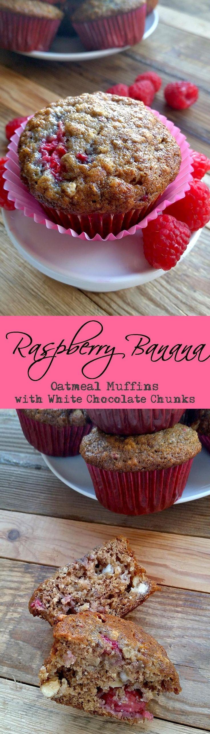 Raspberry Banana Oatmeal Muffins with White Chocolate Chunks