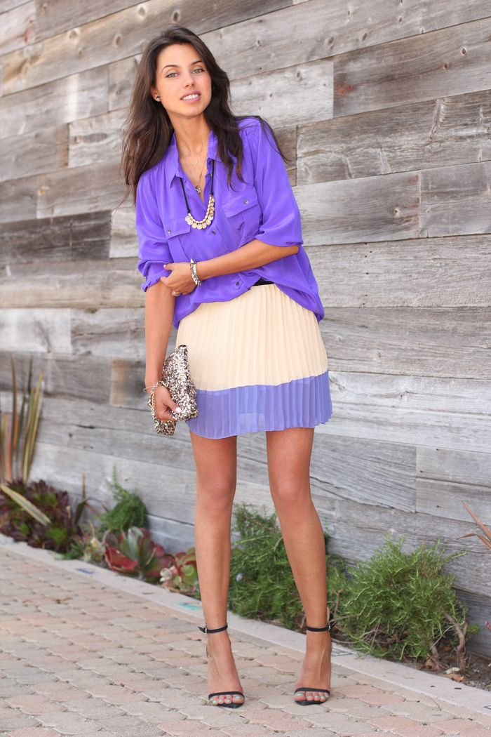 VIVALUXURY - FASHION BLOG BY ANNABELLE FLEUR: PURPLE N' PLEATS Sheinside pleated skirt, Jenny Bird Arethusa Gold Coin Bib necklace, J Crew silk blouse - similar here & here, Zara heels, stylebymarina clutch, ASOS claw ring & spike stretch bracelet May 13, 2012
