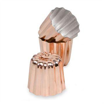 Moules et plaques à pâtisserie : 3 Moules cannelés bordelais 5,5 cm cuivre