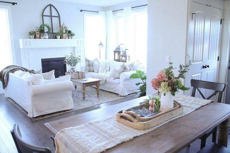 white living room, white family room, slipcovers, farmhouse table, lanterns, fresh flowers, home décor, interior design, diy décor, living spaces, dining room.
