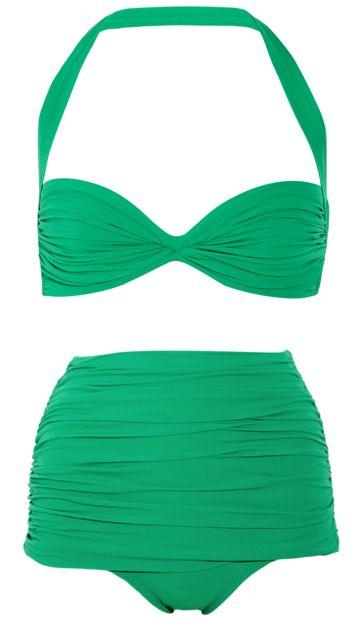 swim, swimsuit, summer, beach, pool, green swimsuit, two piece swimsuit, bikini, high waisted swimsuit