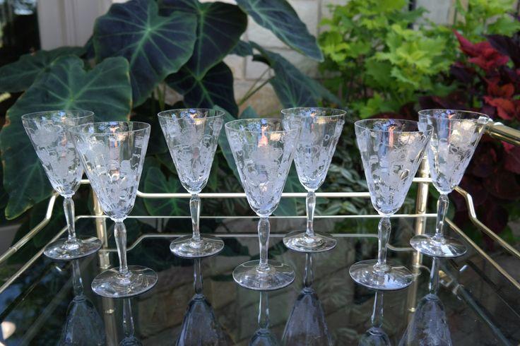 STUNNING Vintage Etched Fostoria Cocktail Champagne Wine Glasses, Set of 7, Wedding Gifts, Wedding Toasting Glasses, Mad Men Barware by Antiquevintagefind on Etsy