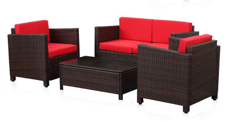 Furniture Patio Set Garden Outdoor Wicker Cushioned 4-Piece - Patio & Garden Furniture Sets