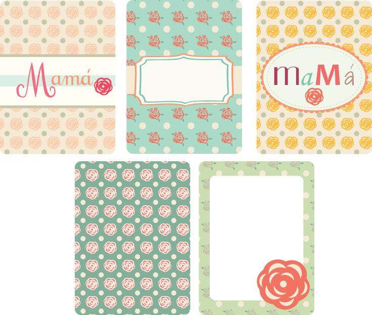 "Printable cards Mamá (mom spanish). 3"" x 4"". Tarjetas de project life en español  para mamá."