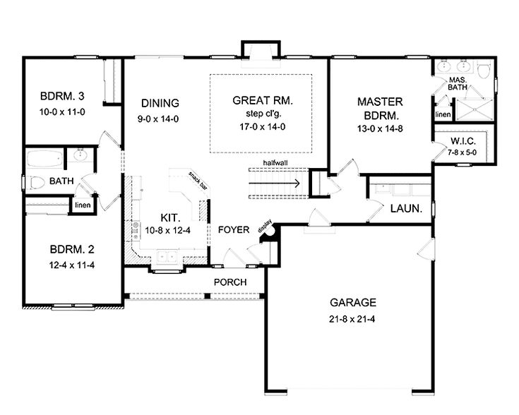 3 bedroom ranch floor plans floor plans aflfpw75216 1 for Simple ranch house plans with basement