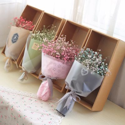 colours pink blue babysbreath dried flower bouquet wedding gift bridesmaid flower home decoration