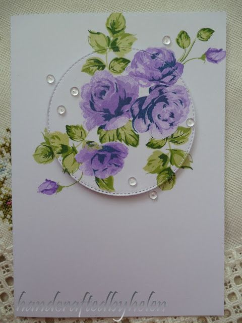 Handcrafted by Helen: Purple Vintage Roses card ... luv the raised circle technique with parts hanging off on the card below ... three stamp Altenew flowers and leavves ... lovely ...