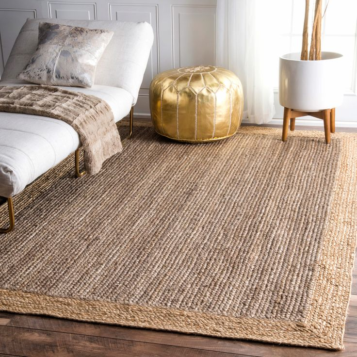 nuLOOM Alexa Eco Natural Fiber Braided Reversible Border Jute Grey Rug (5' x 8') (Grey), Beige, Size 5' x 8'