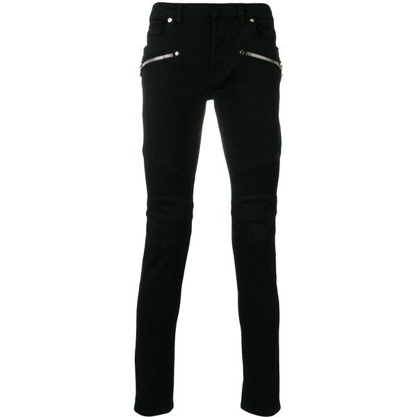 Balmain Biker Jeans ($945) ❤ liked on Polyvore featuring men's fashion, men's clothing, men's jeans, black, mens super skinny jeans, mens skinny fit jeans, embellish mens jeans, balmain men's jeans and mens skinny jeans