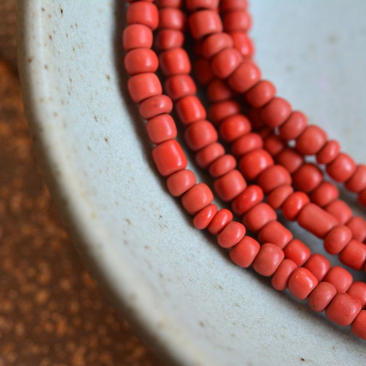 Red Glass Seed Beads, Opaque Red Glass Beads, Small Red Spacer Beads, Irregular Rondelle Beads, Indonesian Beads, Five Strands, 44 Inches, B