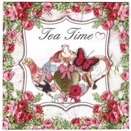Servilleta Decorada Tea Time Servilletas Para Decoupage