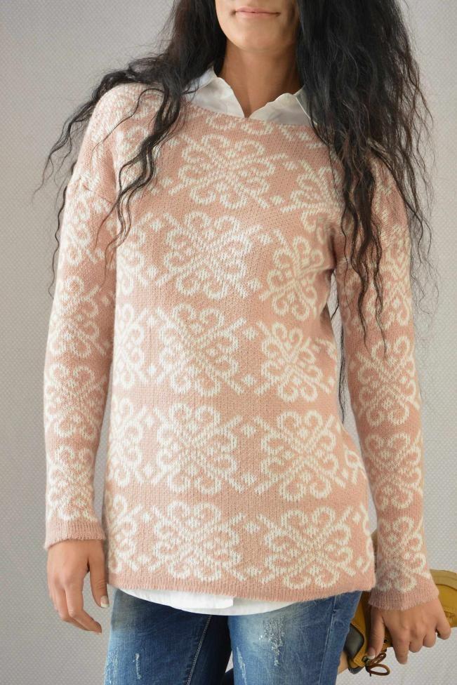 Γυναικείο πουλόβερ ζακάρ  PLEK-2721-sal  Πλεκτά > Πλεκτά και ζακέτες