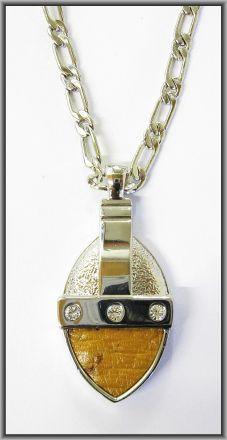 Ostrich leather crystal oval pendants - Chestnut OP08