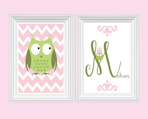 Owl Nursery Decor Personalized Name - Chevron Print Pink Green Girl's room Wall Art Home Decor Kids room Set of 2 - 8x10 Prints Baby's room