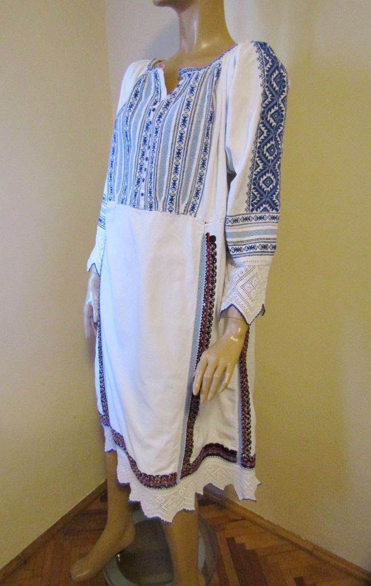 Antique hand embroidered Romanian costume dress from Banat / Carbunari , antique ethnic dress size S/M  For sale at www.greatblouses.com