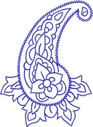Bluework Paisley embroidery design