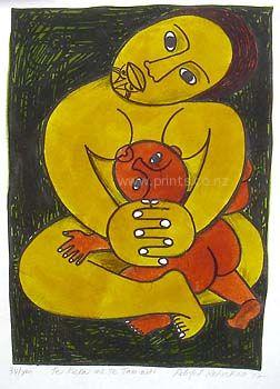Te Keka me Te Tamaiti by Robyn Kahukiwa for Sale - New Zealand Art Prints