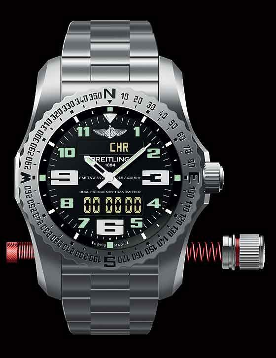Breitling Emergency II: The watch with both sections of the antenna fully extended
