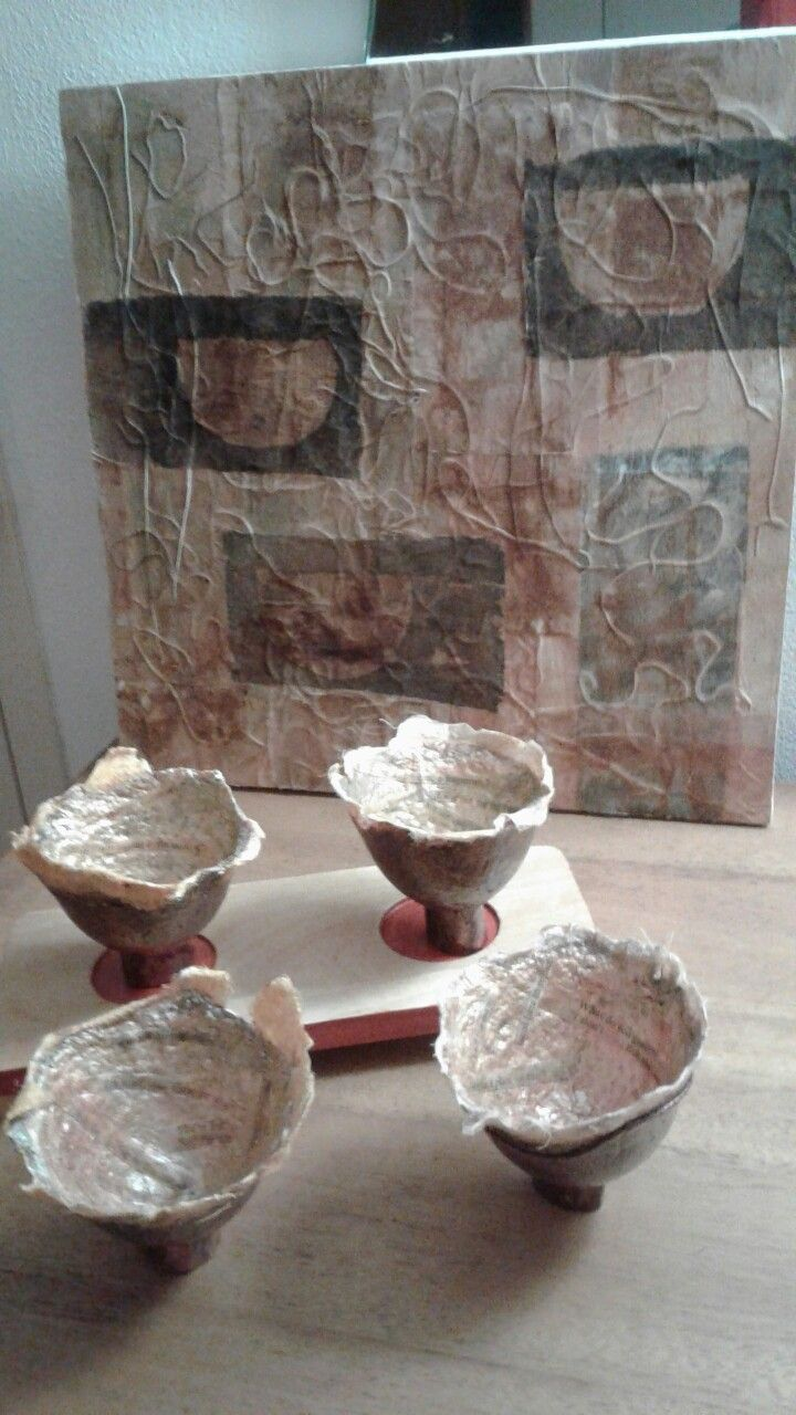 """Four Conversations"" Stencilled teabags on wood with paper bowls containing text"