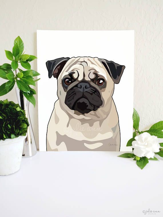 Pug Art Print Pug Dog Art Pug Decor Pug Wall Art Dog Art  Etsy